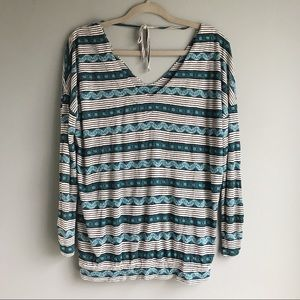 Lucky Brand Blue Pattern Blouse (Large)